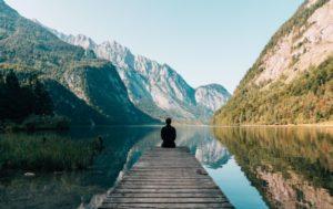 a man and lake